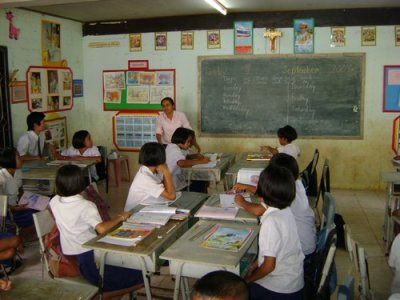 Images of students and teachers during teacher training.